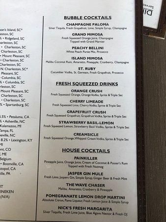 Acme Lowcountry Kitchen: Cocktail menu