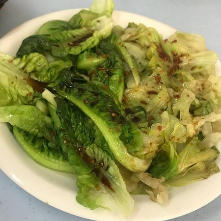 Singapore Foodsters: Steamed Lettuce Leaves with Fried Shallots and Garlic