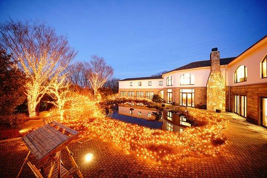 Mori no Izumi: ホテル外観 中庭からの夜景