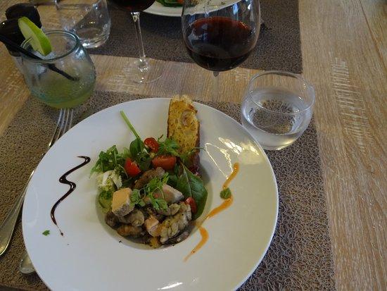 Le Boïate: Entrée, salade de riz d'agneau et foie gras