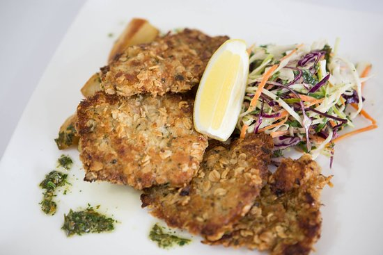 Geppetto Trattoria: Crumbed milk-fed veal medallions served with shaved cabbage