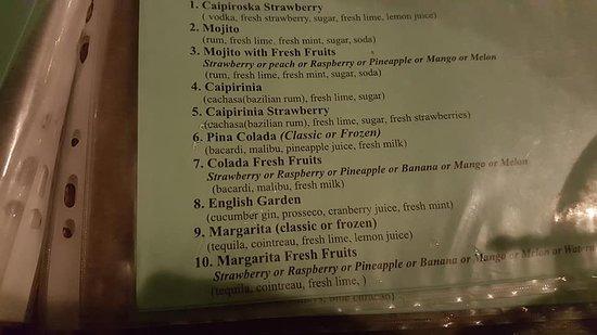 D'amour Beach Bar-Restaurant: cocktail menu