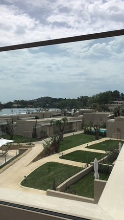 Ikos Dassia: View from the Sky bar (our room 2009 is the middle lawn on the right)