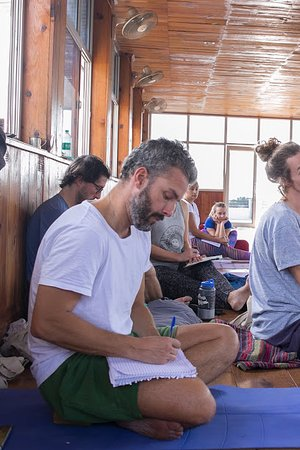 Rishikul Yogshala: Our students taking notes in the class