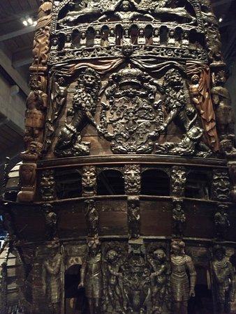 Musée Vasa: Detalhes talhados na madeira