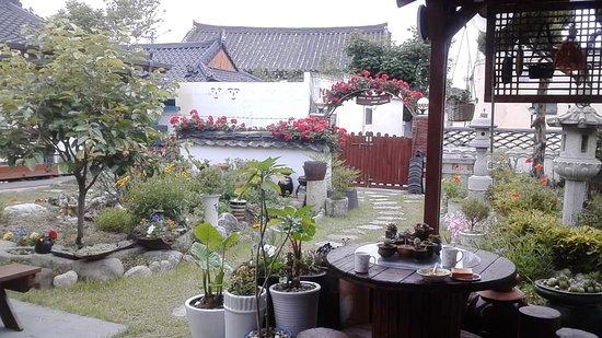 Nuestra terraza en el Raon Guesthouse, Gyeongju, Korea
