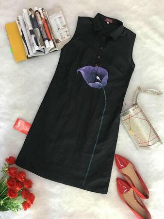 Gia Huy Silk Tailor Shop: Linen dress with painting by hand