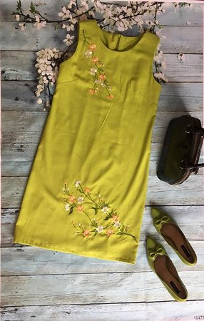 Gia Huy Silk Tailor Shop: linen dress with embroidery  by machine