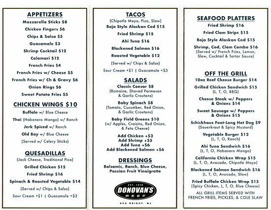 Donovan's Reef Grill Menu