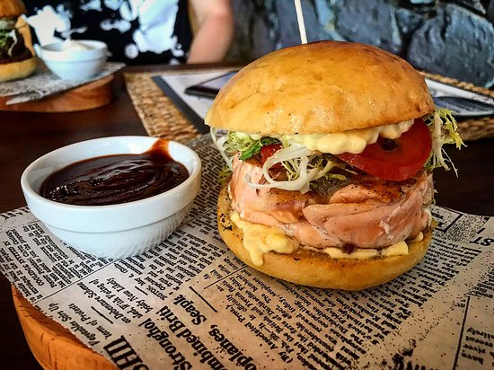 New Village: Salmon Burger