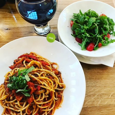 Pasta with lentil bolognese, simple salad, large glass of wine!