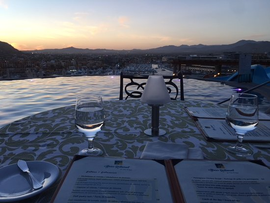 Playa Grande Resort : Dinner on our last night in Cabo. This is at The Ridge Restaurant around sunset.