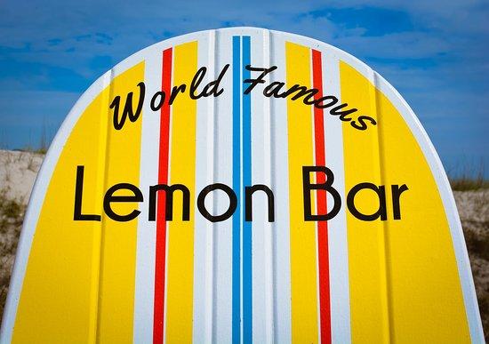 Lemon Bar: Enjoy our custom benches made by a local Jax Beach artist!