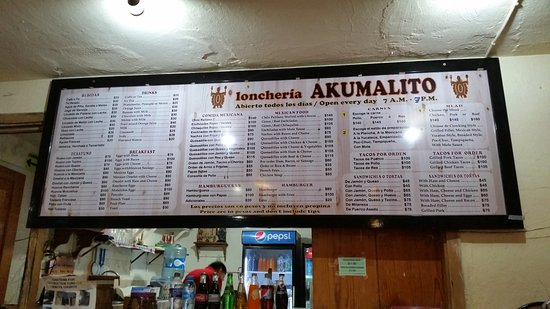 Loncheria Akumalito: Il menù