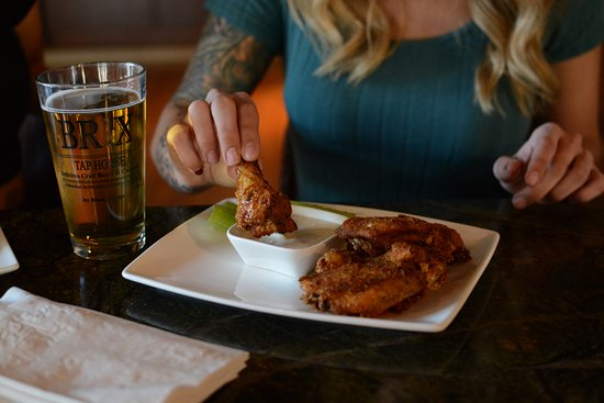 Brix Taphouse: Brix Wings: grilled or fried, Howler Monkey Amarillo glaze, cucumber ranch