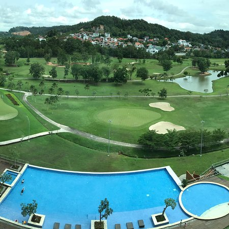 Radission golf and Convention hotel- view from balcony, business lounge, indoor pool and breakfa