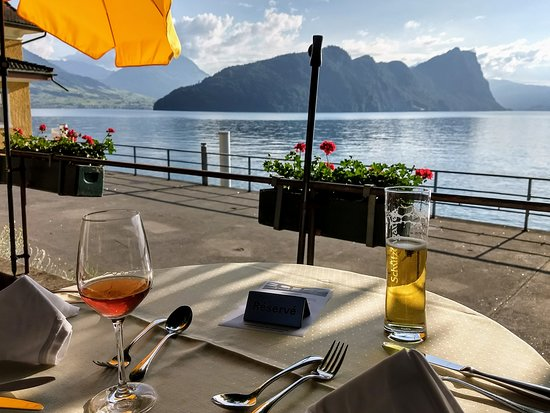 Hotel Terrasse Am See: Dinner with a view