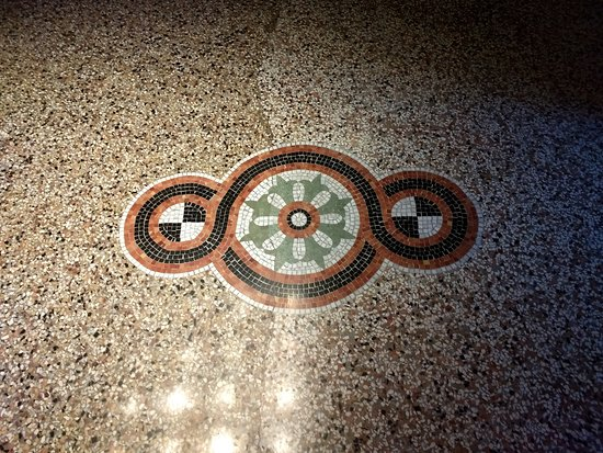 Hotel Terrasse Am See: Restored 19th century terrazzo floor in lobby
