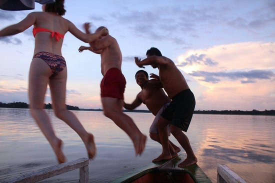 Amazonas Region, Peru: With my friends swimming in the amazonas...