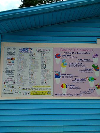 Pelican's SnoBalls: Here is the sign with all your choices.