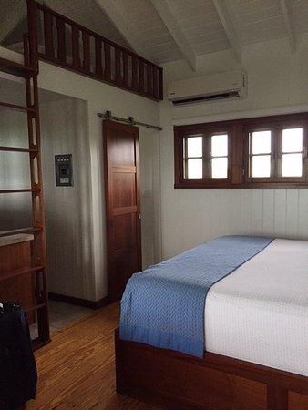 Kahari Resort: Kitchener to left, bath behind sliding barn door, loft mostly unusable