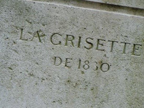 Statue La Grisette: Inscription sur le socle