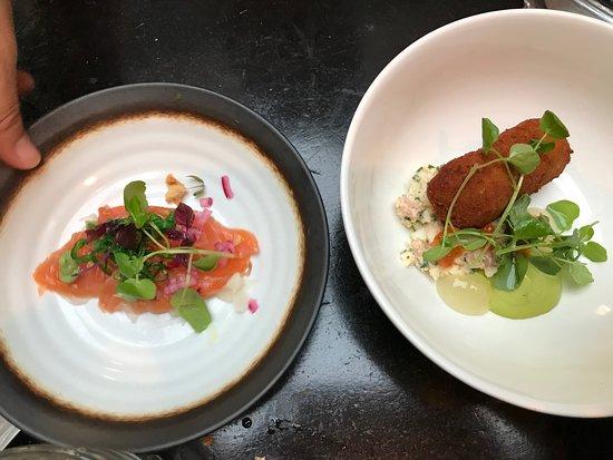 Pastis: Salmon carpaccio and shrimp croquette