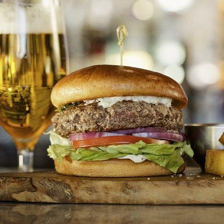 Fogo de Chão Brazilian Steakhouse: Bar Fogo Picanha Burger: fresh ground in-house, smoked provolone, chimichurri aioli, brioche bun