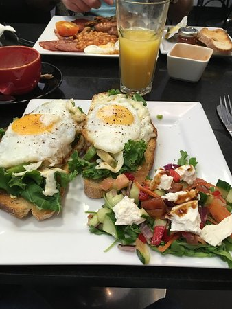 The Vienna Coffee House: Full English, veggie benedict on a bed of kale, avocado, grilled halloumi, Greek salad