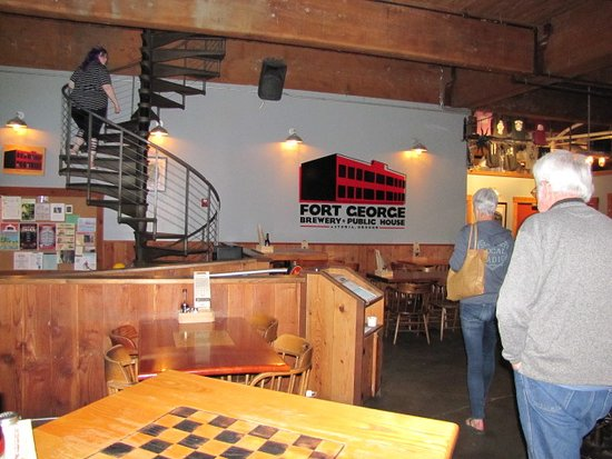 Fort George Brewery + Public House: downstairs looking to the stair case that take you up to the wood fired pizza