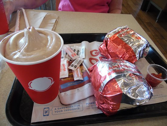 Wendy's: Small Chocolate frosty and 2 cheeseburgers