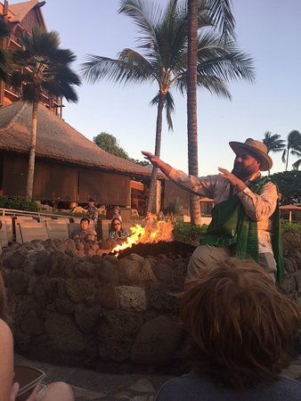 Aulani, A Disney Resort & Spa: story time by the fire pit - don't miss :)