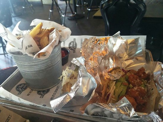 Sir Veza's Taco Garage : Diablo Shrimp Tacos w/ Fries