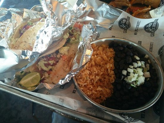 Sir Veza's Taco Garage : Grilled Fish Tacos w/ Rice and Beans