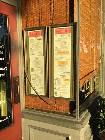 La Note : outside menu