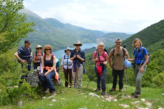 Sacred Walks: Group photo opportunity with Lago di Barrea in the background.