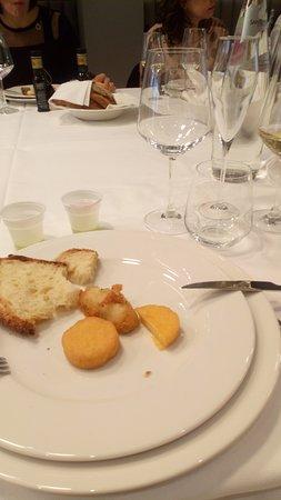 Ristorante Biancospino: Verdure pastellate con scagliozze di polenta baresi