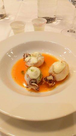 Ristorante Biancospino: Crema di carote pesce ripieno di ricotta