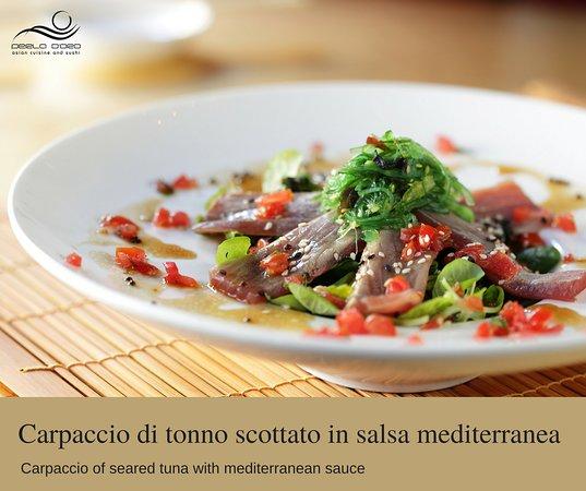 Perla d'oro Milano - Via Vigevano: Carpaccio di tonno scottato in salsa mediterranea