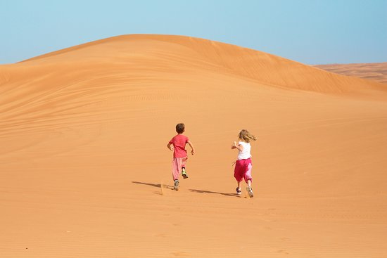 Dubai Private Adventure: The dunes are hot-- put your kids in cotton harem pants if you can