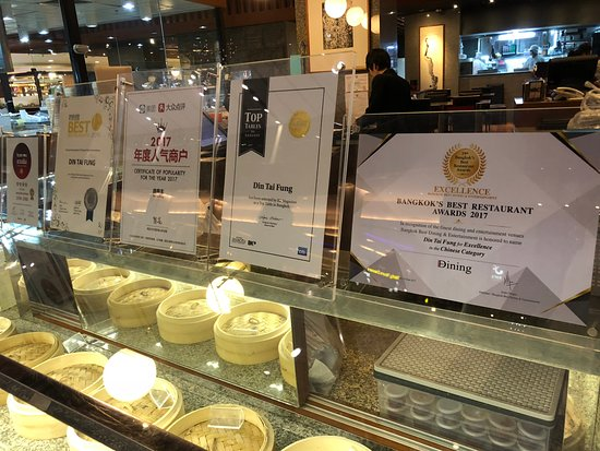 Din Tai Fung @ Central World: Their collection of awards