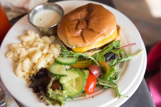 Chef Art Smith's Homecomin': Kids cheeseburger with salad and mac & cheese