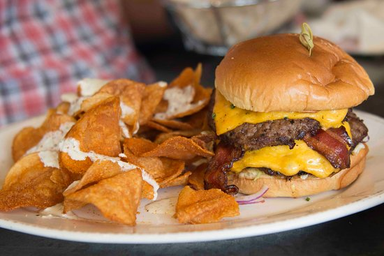 Chef Art Smith's Homecomin': Art Burger with housemade chips drizzled with icebox dressing