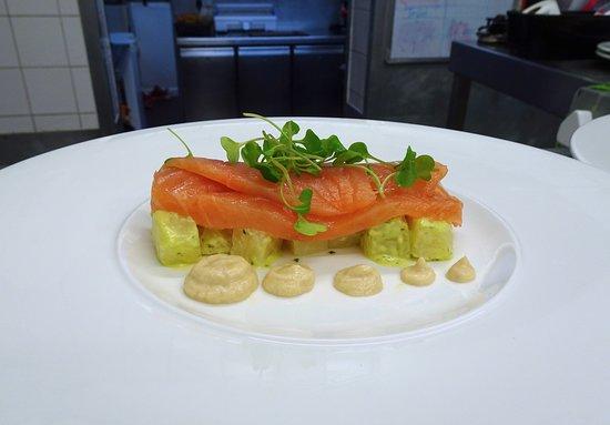 Galloways of Woburn Restaurant: Salmon Gravadlax - brown shrimp emulsion, basil potato salad, baby rocket (GF)