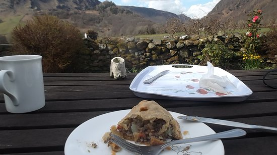 view from the cafe at rosthwaite (and a Herdwick pasty)