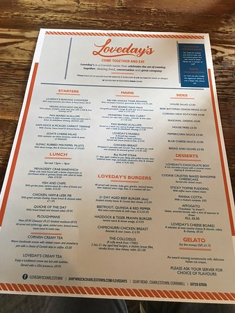 Loveday's: menu