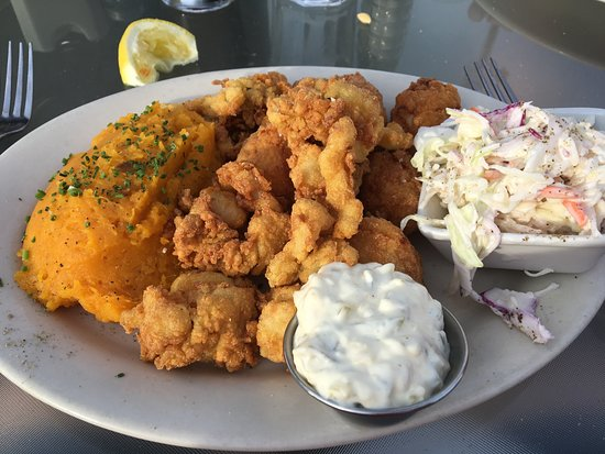 Belfast, ME: Clam and Scallop Dinner with Cole Slaw and Butternut Squash