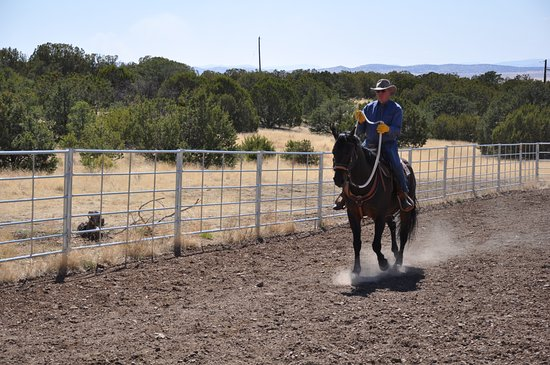 Magdalena, NM: Learning ride the cowboy way. Not as easy as it looks.