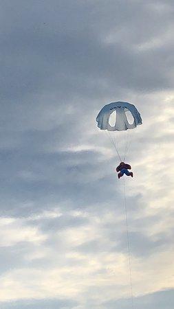 Copacabana Beach: spiderman with a parachute