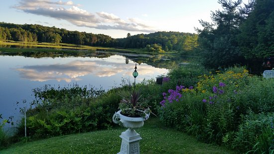 Thendara, NY: evening river and garden view
